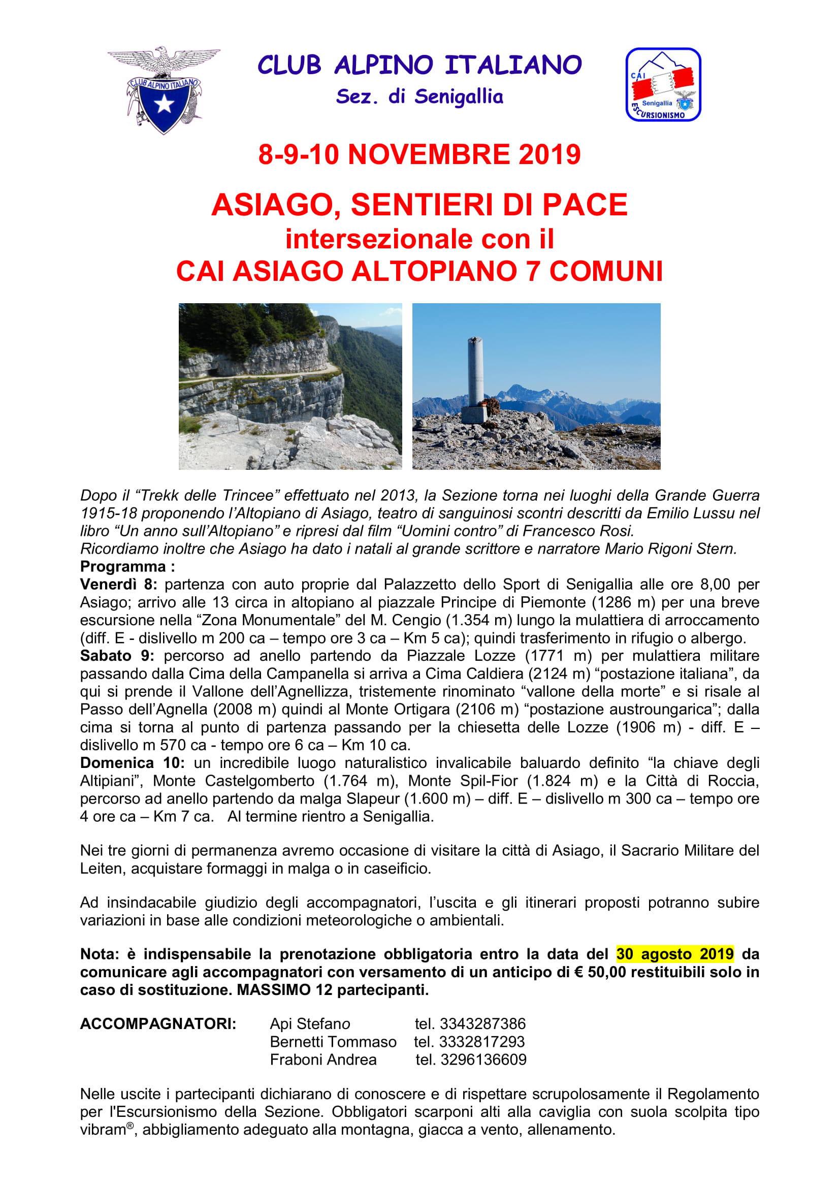 Altopiano di Asiago, Sentieri di pace
