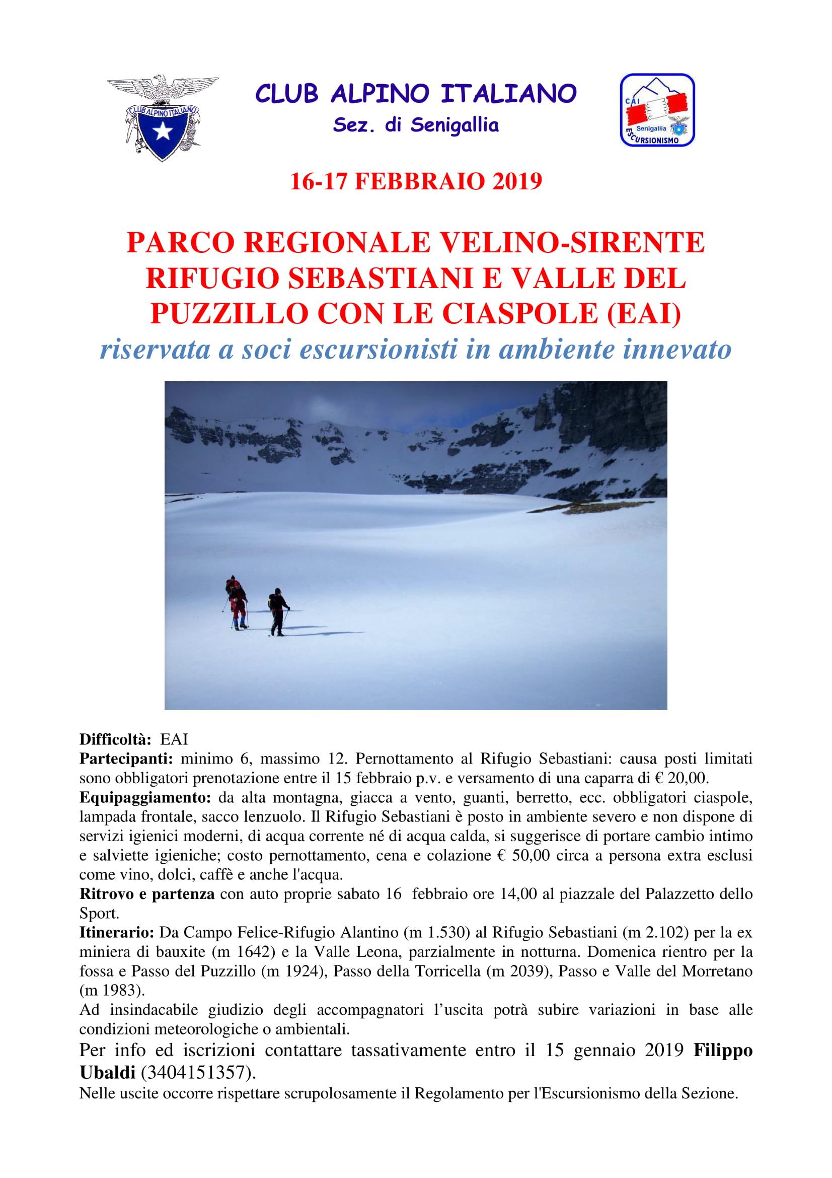 GE - RIFUGIO SEBASTIANI E VALLE DEL PUZZILLO CON LE CIASPOLE (EAI) @ Parco del Velino-Sirente